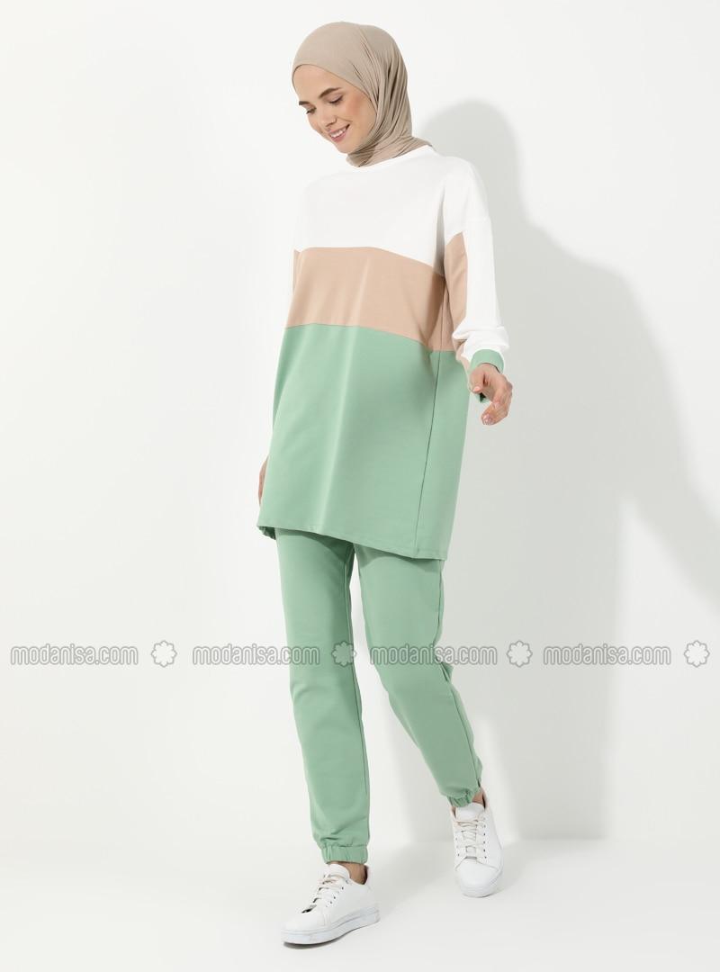 Beige - Green Almond - Ecru - Unlined -  - Suit