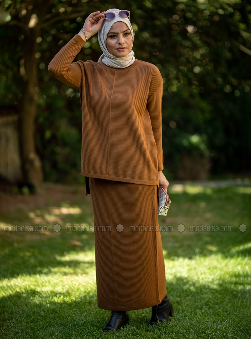Tan - Unlined - Acrylic - - Knit Suits