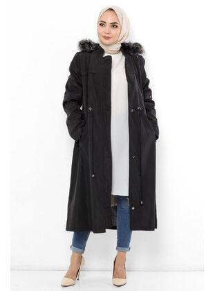 Black - Plus Size Coat - Tesettür Dünyası