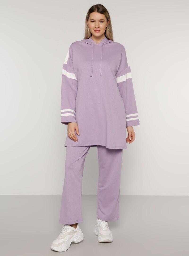 Plus Size Tracksuit Sets Alia White / Ecru / Lilac