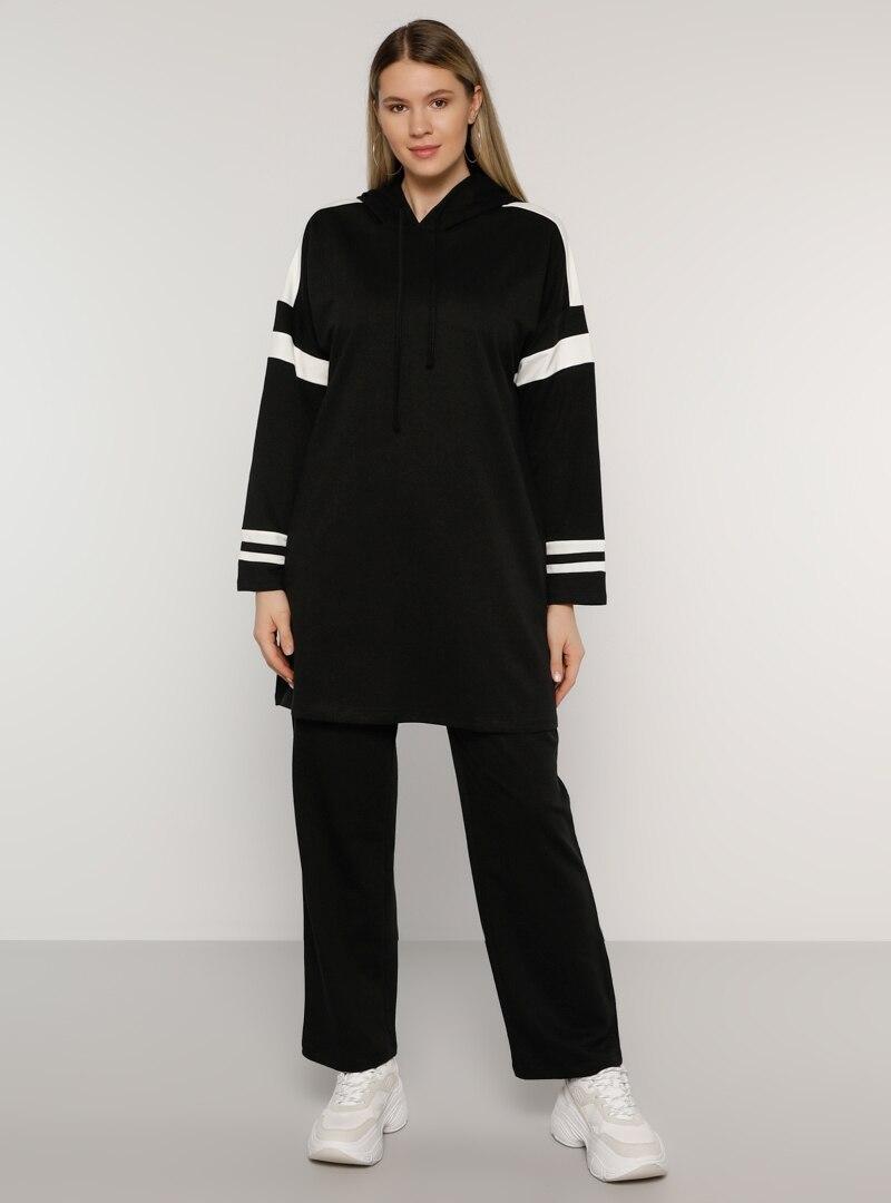 Plus Size Tracksuit Sets Alia White / Black