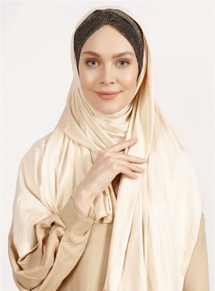 Beige - Plain - Combed Cotton - Shawl