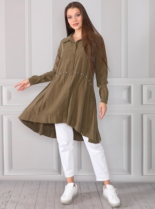 Khaki - Point Collar - Lyocell - Tunic - ACR CLOTHİNG
