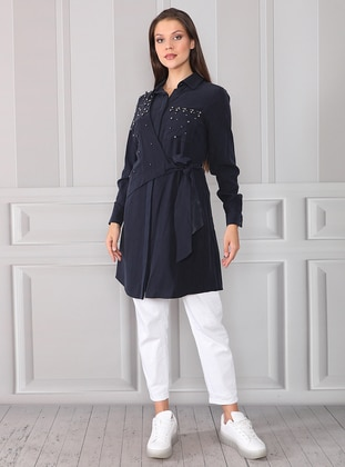 Navy Blue - Point Collar - Lyocell - Tunic - ACR CLOTHİNG