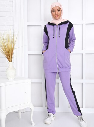 Lilac - Black -  - Tracksuit Set