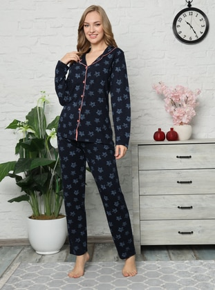 Navy Blue - V neck Collar - Multi -  - Pyjama Set