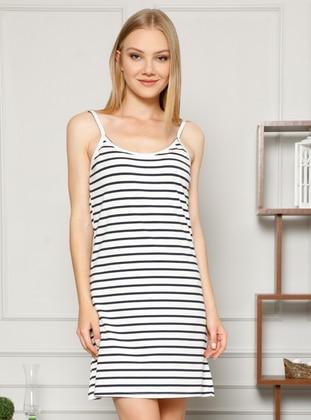 White - Navy Blue - Stripe - - Nightdress