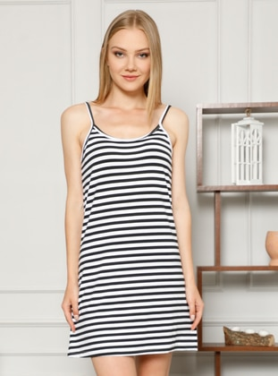 White - Black - Stripe - - Nightdress