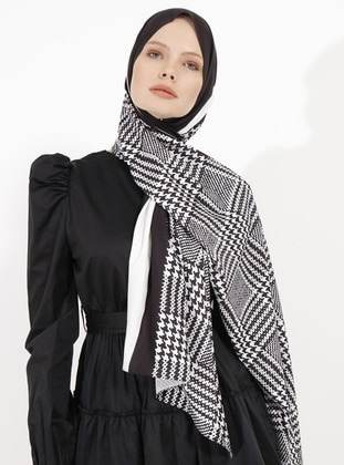 White - Black - Printed - Shawl