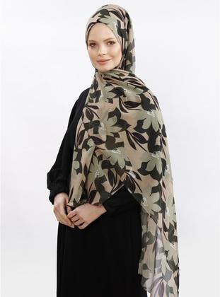 Camel - Khaki - Floral - Shawl