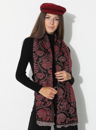 Maroon - Floral - Printed - Acrylic - Shawl