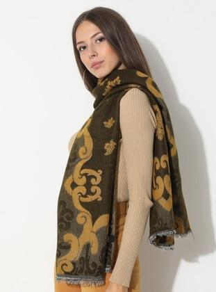 Mustard - Green - Floral - Printed - Acrylic - Shawl