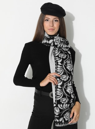 White - Black - Floral - Printed - Acrylic - Shawl - Daisy Accessory