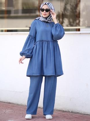 Blue - Unlined - Denim - Lyocell - Suit