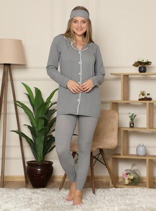 Gray - V neck Collar - Multi - - Pyjama Set