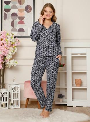 Navy Blue - V neck Collar - Multi - - Pyjama Set