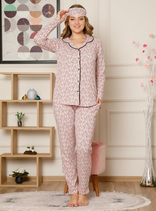 Pink - V neck Collar - Multi -  - Pyjama Set