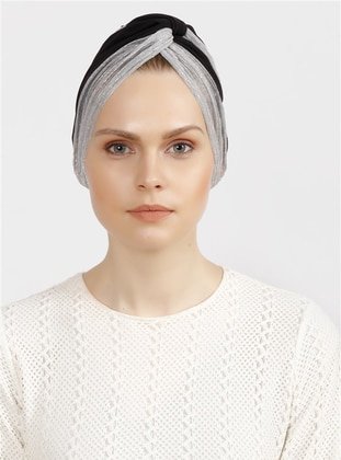 Silver tone - Black - Plain - Simple - Bonnet