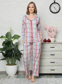 Fuchsia - Sea-green - Green - V neck Collar - Multi -  - Pyjama Set