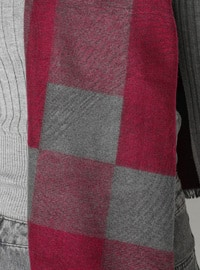 Gray - Pink - Printed - Viscose - Shawl