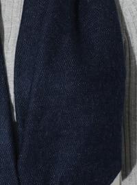 Gray - Navy Blue - Plain - Acrylic - Shawl