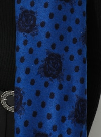 Saxe - Black - Floral - Printed - Acrylic - Shawl