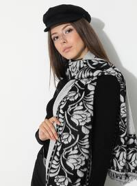 White - Black - Floral - Printed - Acrylic - Shawl