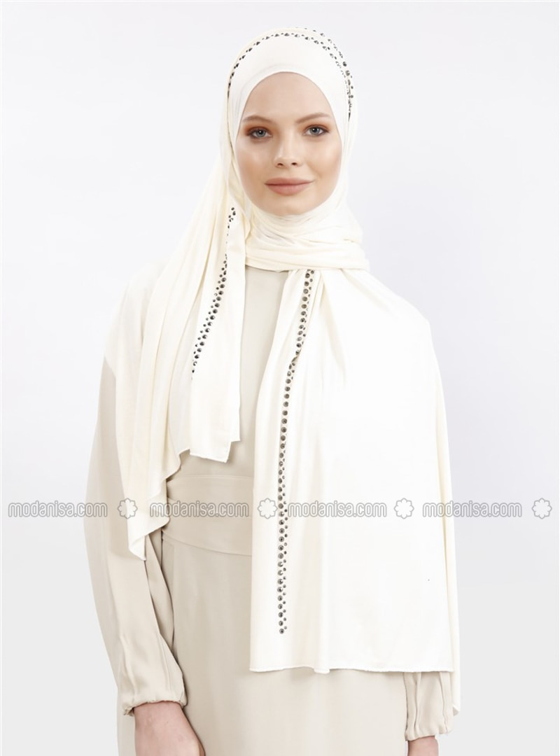 Ecru - Plain - Combed Cotton - Shawl