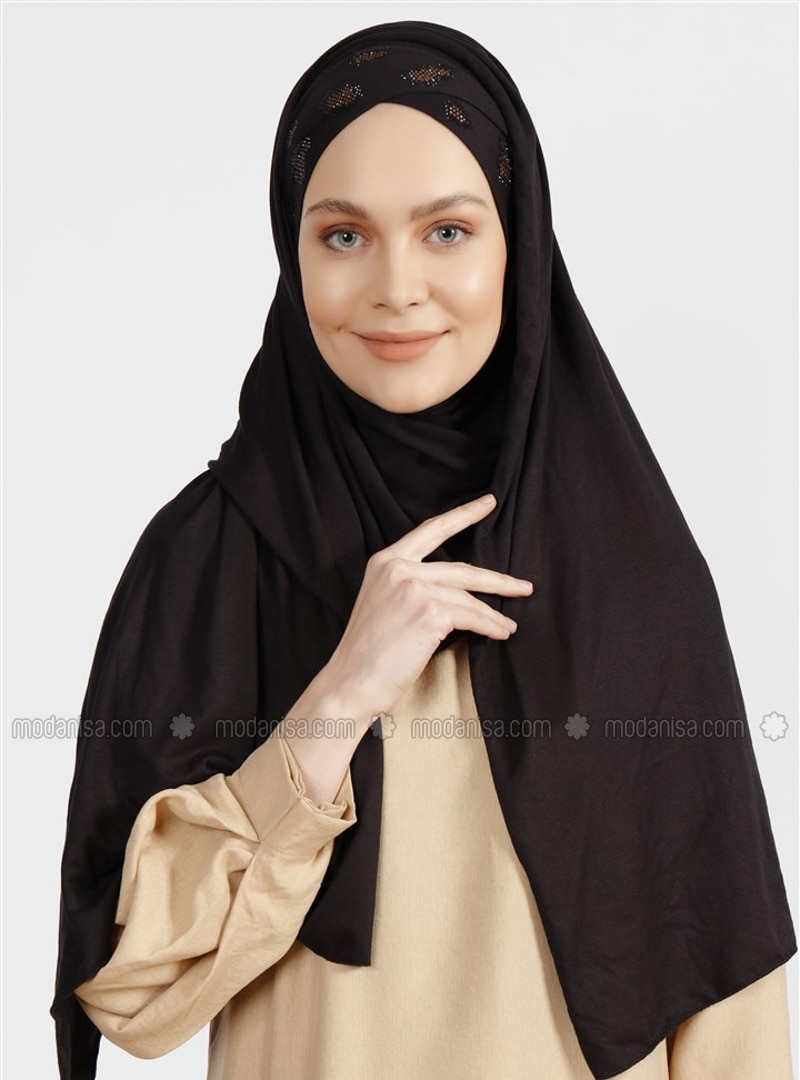 Black - Plain - Combed Cotton - Shawl