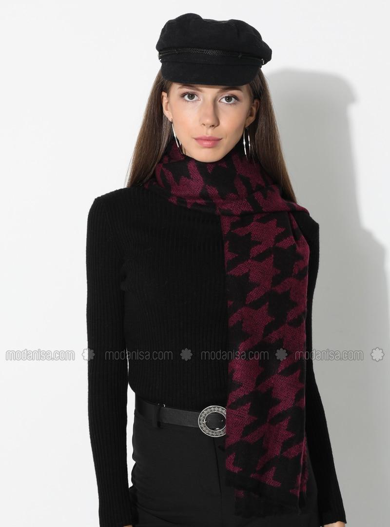 Fuchsia - Black - Printed - Acrylic - Shawl