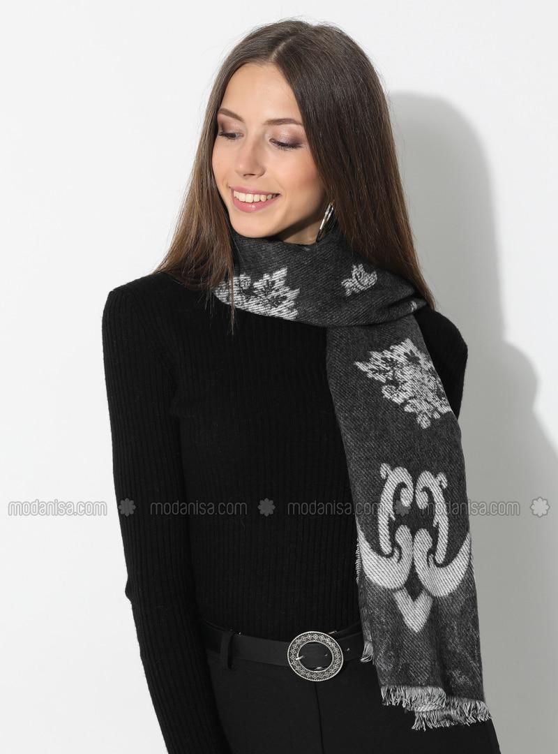 White - Gray - Floral - Printed - Acrylic - Shawl