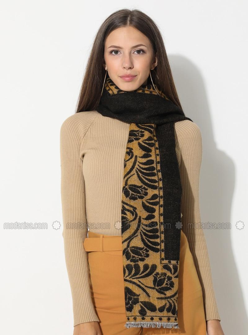 Mustard - Black - Floral - Printed - Acrylic - Shawl