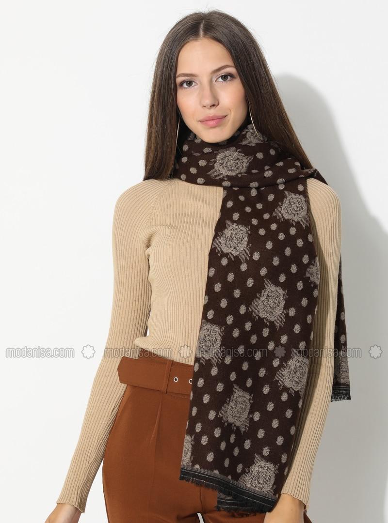 Brown - Floral - Printed - Acrylic - Shawl