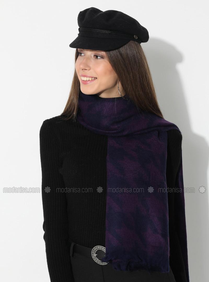 Purple - Black - Printed - Acrylic - Shawl