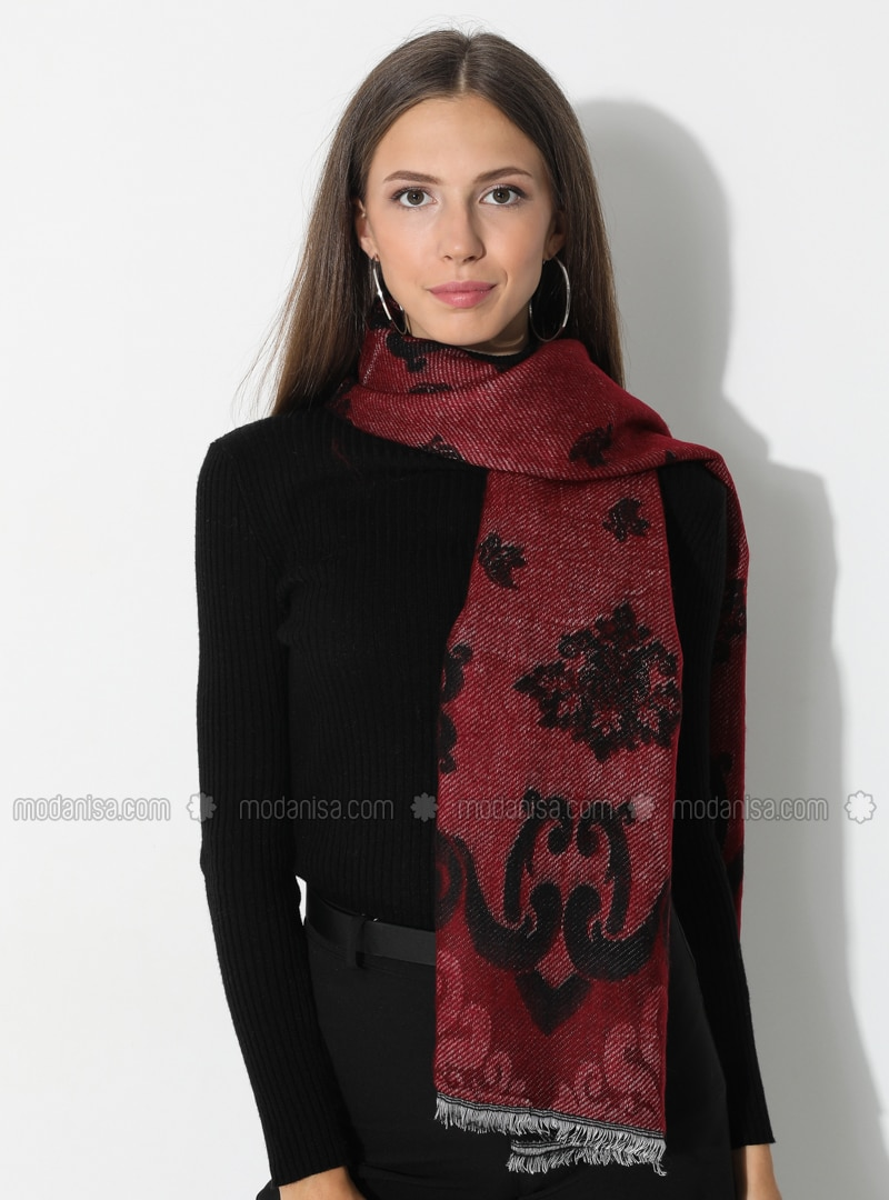 Maroon - Black - Floral - Printed - Acrylic - Shawl