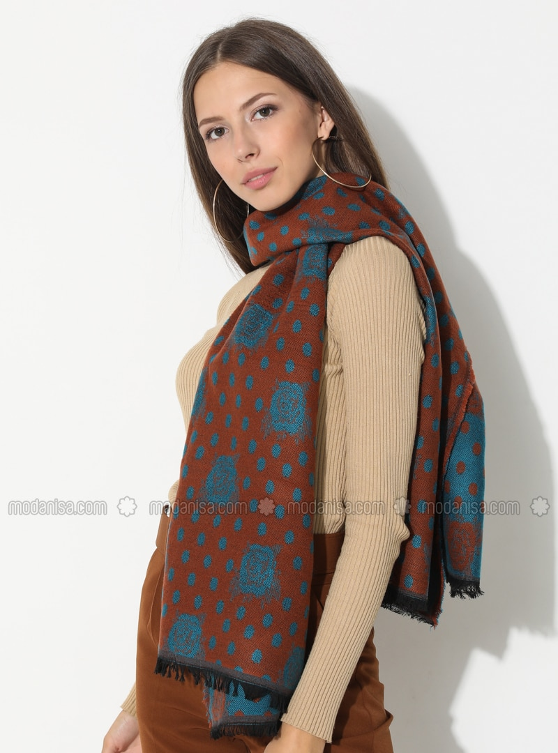 Turquoise - Floral - Printed - Acrylic - Shawl