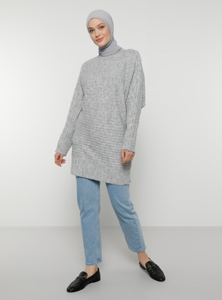 Silver tone - Crew neck - Unlined - Knit Tunics