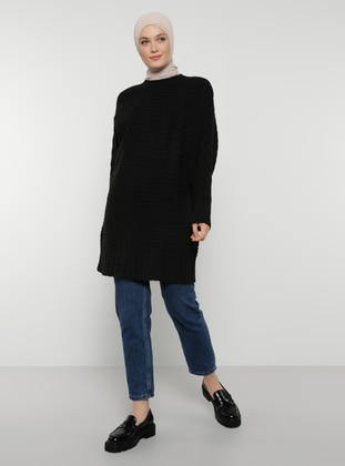 Black - Crew neck - Unlined - Knit Tunics