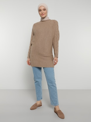 Mink - Crew neck - Unlined - Knit Tunics