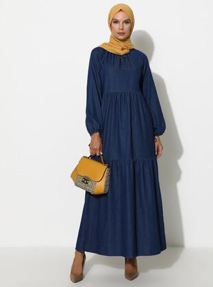 Navy Blue - Crew neck - Unlined - Denim -  - Dress