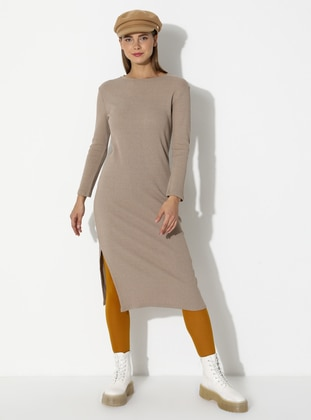 Stone - Stripe - Unlined - Crew neck - Acrylic - - Knit Dresses
