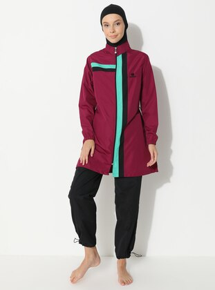 Maroon - Fully Lined - Full Coverage Swimsuit Burkini