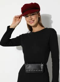 Anthracite - Unlined - Crew neck - Acrylic - - Knit Dresses