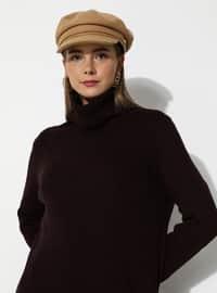 Maroon - Black - Polo neck - Unlined - Knit Tunics