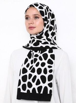 White - Black - Printed - %100 Silk - Shawl