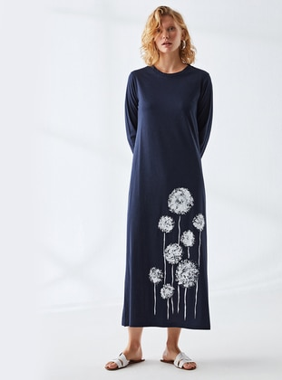 Navy Blue - Crew neck -  - Dress
