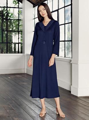 Navy Blue - Crew neck - - Viscose - Nightdress - Artış Collection