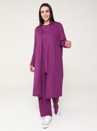 Purple - Plum - Crew neck - Unlined - Plus Size Suit