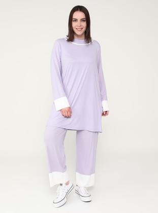 White - Lilac - Crew neck - Unlined - Plus Size Suit