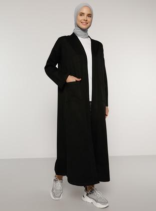 Black - Unlined - V neck Collar -  - Topcoat